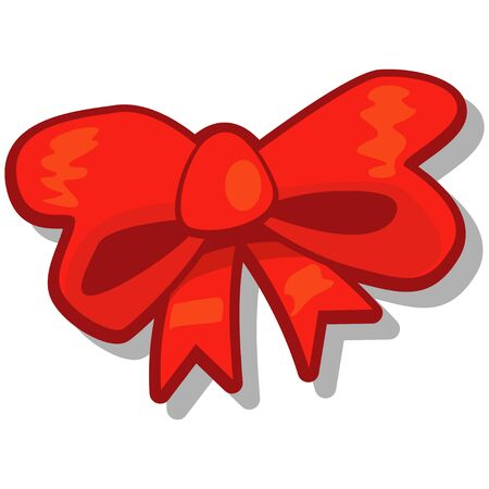 Red bow. Vector cartoon illustration isolated on white background. Illustration