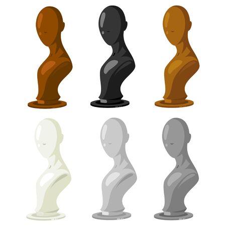 Vecteur de mannequin défini dans différentes couleurs. Modèle de magasin d'accessoires de mode pour bijoux, perruques, chapeaux, lunettes, etc. Illustration de dessin animé isolée sur fond blanc.