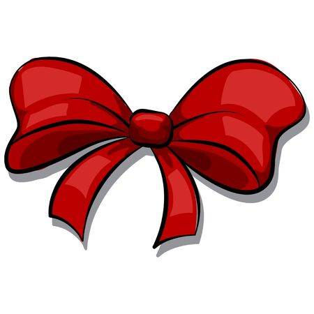 Red bow cartoon hand drawn vector icon isolated on white background.