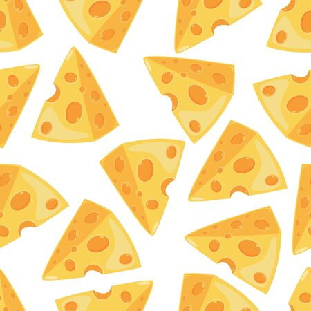 Cheese slice vector seamless pattern on a white background for wallpaper, wrapping, packing, and backdrop.