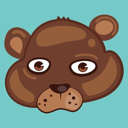 Cute animal vector cartoon. Bear face isolated on a blue background.