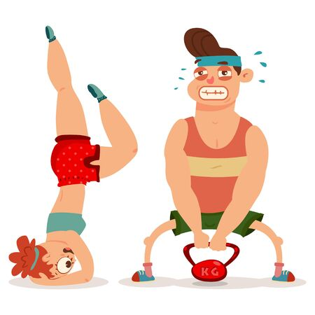 Fitness couple man and woman doing exercise with weight. Workout girl and guy vector cartoon illustration isolated on a white background. Healthy lifestyle.