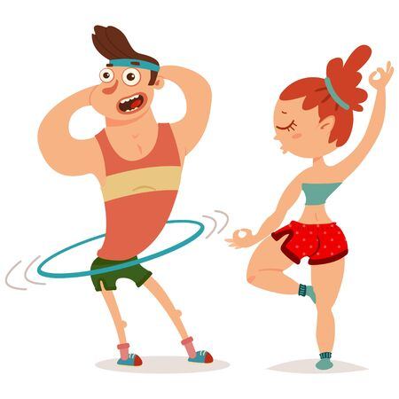Fitness couple man and woman doing exercise. Workout girl and guy vector cartoon illustration isolated on a white background. Healthy lifestyle.