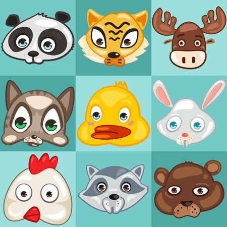 Cute animal head vector cartoon set. Tiger, panda, moose, cat, duck, rabbit, chicken, racoon and bear face isolated on a blue background.