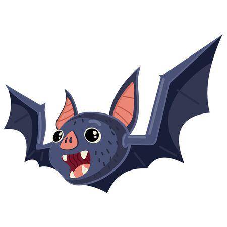 Vampire bat animal cartoon vector illustration isolated on white background.