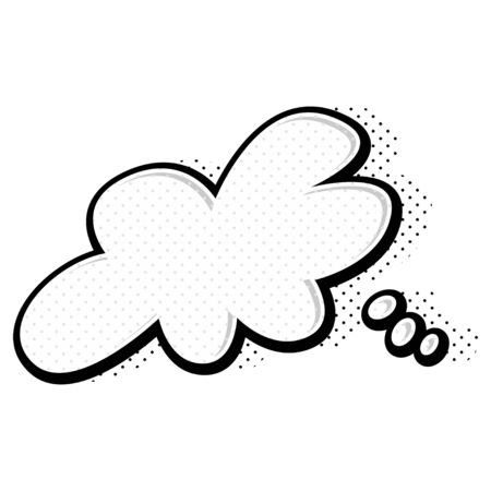 Comic speech bubble. Cartoon empty expression illustration of cloud with halftone dot background. Pop art style. Vector icon.