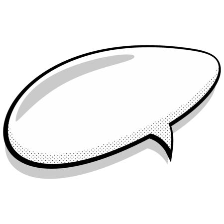 Comic speech bubble. Empty expression illustration of cartoon cloud with halftone dot background. Pop art style. Vector icon.