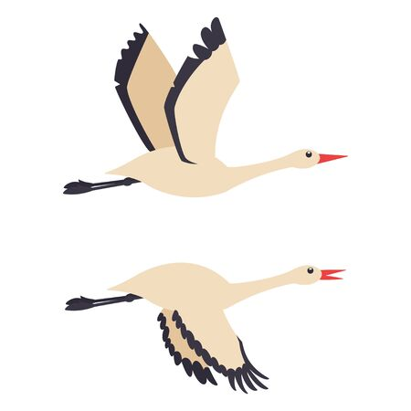 Couple of storks in flying. Vector flat birds icons isolated on white background. Ilustração