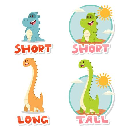 Opposite words Short and Tall, Long. Vector cartoon illustration with cute big and small dinosaurs isolated on white background.