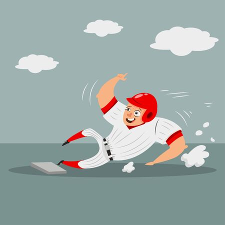 Baseball runner player sliding home base. Cartoon character of a man in helmet and sportswear. Vector illustration isolated on white background. 矢量图像