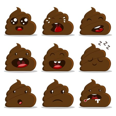 Cute poop with different emotion set. Vector cartoon flat icons isolated on white background.