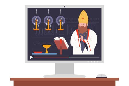 Priest preaching in the church online vector cartoon illustration.