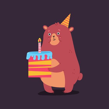 Cute cartoon bear character with cake. Happy Birthday vector concept illustration.