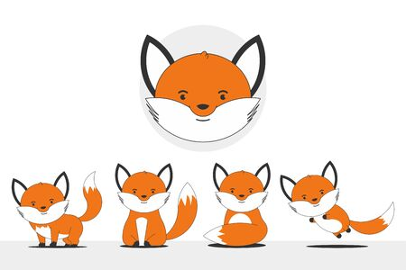 Fox vector cartoon characters set isolated on a white background.