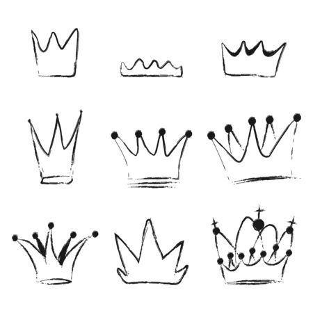 Crown doodle vector black silhouette set isolated on a white background. Ilustracja