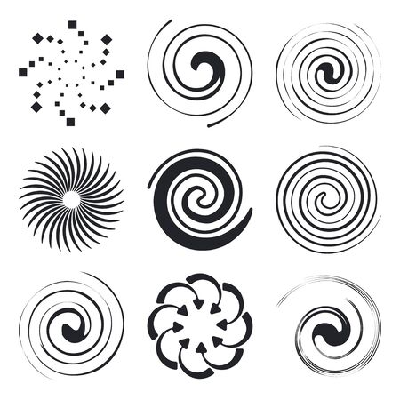 Swirl vector icons set isolated on a white background.