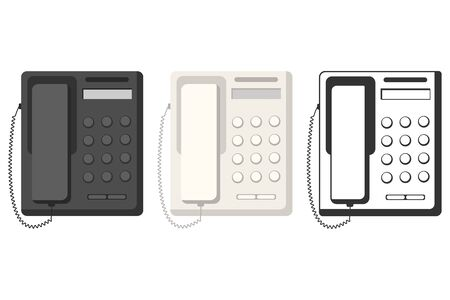 Landline phone top view vector flat set isolated on a white background.