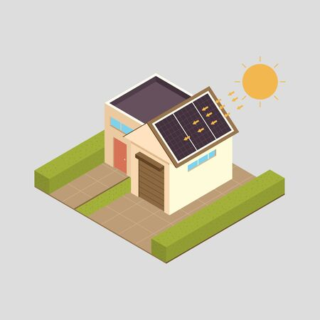 Solar energy vector concept illustration with house.