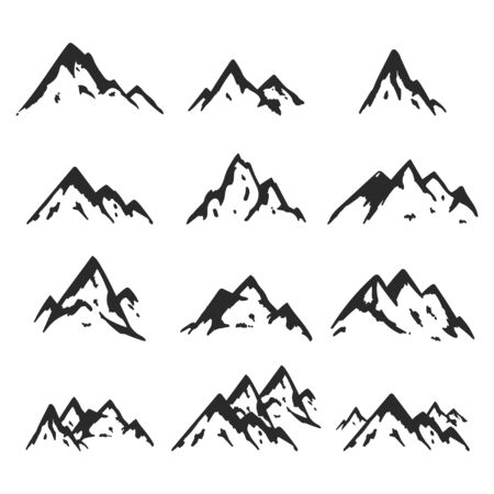 Mountains icons vector set isolated on a white background.