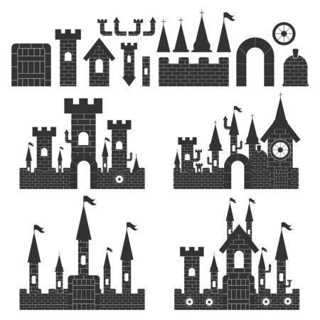 Castle constructor vector simple set isolated on a white background.