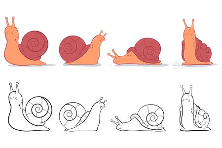 Garden snail vector cartoon set isolated on a white background.