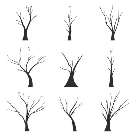 Bare trees black silhouette vector set isolated on white background.
