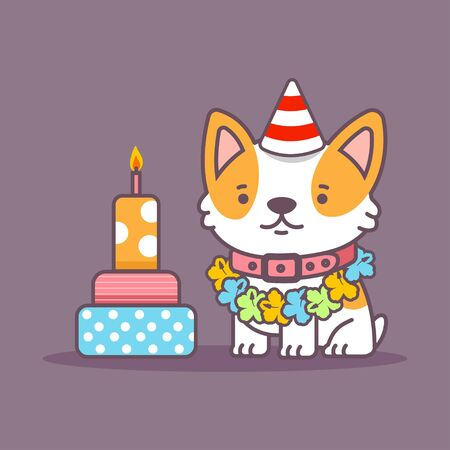 Cute corgi dog in party hat celebrate birthday. Vector cartoon pet character with cake isolated on background. Иллюстрация