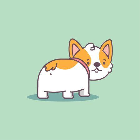 Funny corgi butt vector cartoon flat cute dog character isolated on background.