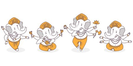 Lord Ganesha vector cartoon cute characters set. Hindu god with elephant hand in dance and lotus pose isolated on white background.