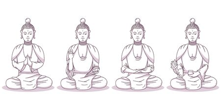 Buddha vector cartoon characters set. God illustration in different poses isolated on white background.