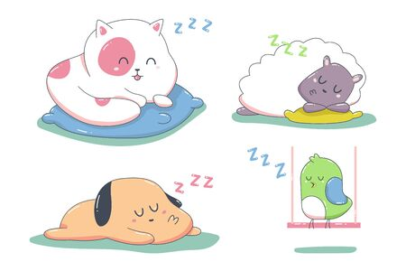 Cute sleeping animals vector cartoon characters set isolated on a white background.