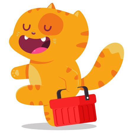 Cute cat with shop basket vector cartoon character isolated on a white background.
