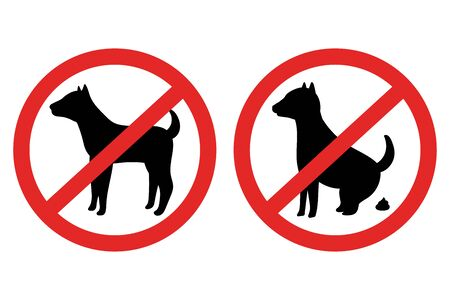 No dog and poop warning sign vector set isolated on a white background. Иллюстрация