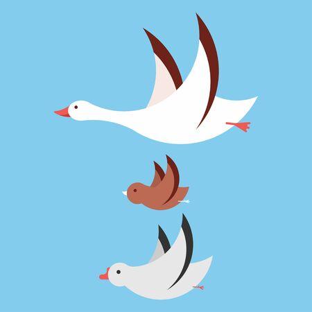 Flying birds vector cartoon set isolated on background.