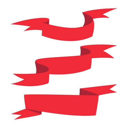 Red ribbon banner different shapes vector cartoon set isolated on a white background.