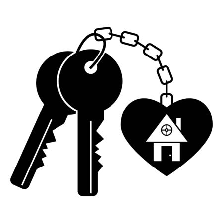 House keys vector black silhouette isolated on a white background. Vettoriali