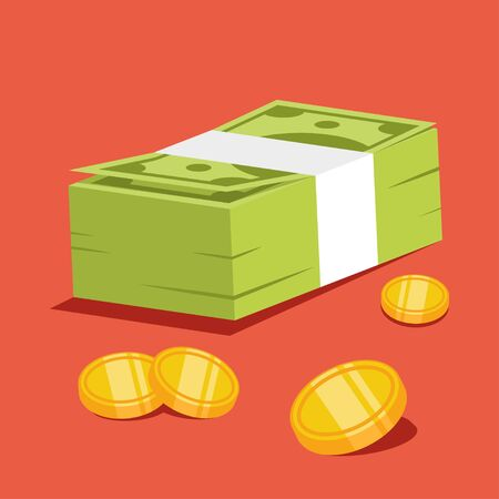 Stack of money and gold coins vector cartoon illustration isolated on background. Иллюстрация