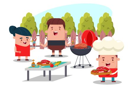 Barbecue party with friends. Vector cartoon flat picnic illustration of people in the backyard.