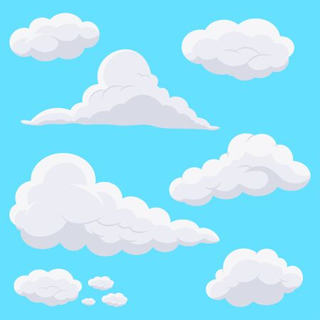 Cartoon clouds in the sky. Vector icons set isolated on blue background.