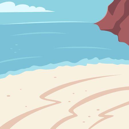 Summer background with beach, sea and mountain. Vector cartoon illustration. Иллюстрация