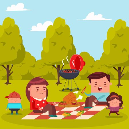 Happy family at a picnic in the city park. Barbecue flat illustration with mom, dad, daughter and son. Vector cartoon characters of a man, woman and children.