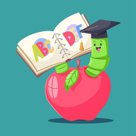 Cute book worm in graduate hat in red apple and reading the alphabet. Vector cartoon smart caterpillar character. Illustration for kids.