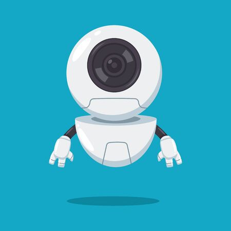 Cute flying robot with lens vector flat cartoon character isolated on background. Иллюстрация