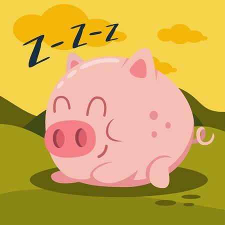Cute pink pig sleeping on green grass vector cartoon illustration. Farm animal. Иллюстрация