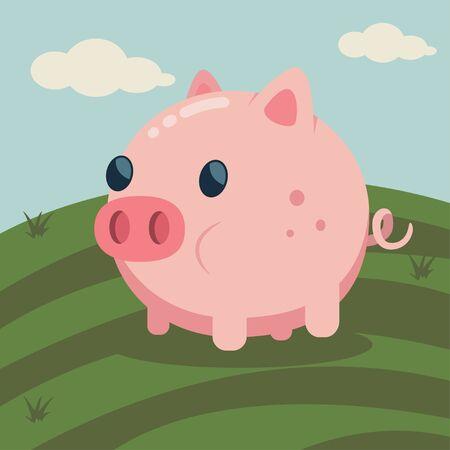 Cute cartoon pig sleeping on village landscape vector illustration. Farm animal. Иллюстрация