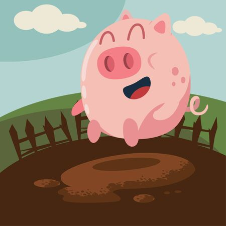 Funny pig jumping in mud puddle vector cartoon illustration. Farm animal.