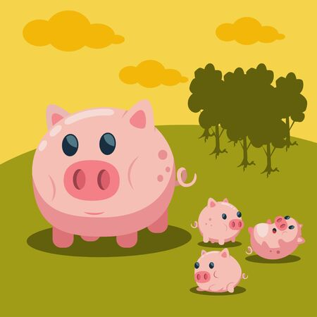Sweet pig with cute baby piglet on field landscape vector cartoon illustration. Farm animal.