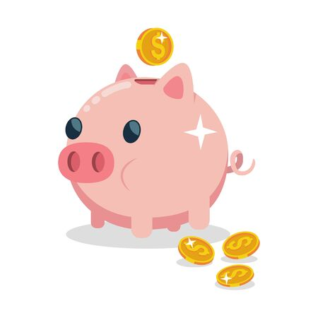 Piggy bank vector icon. Illustration of money box in the form of an agricultural animal with gold coins isolated on a white background. Иллюстрация