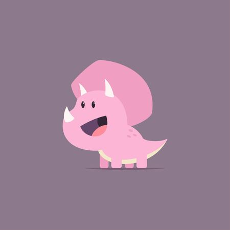 Triceratops dinosaur funny cartoon baby character. Vector flat prehistoric animal isolated on background.