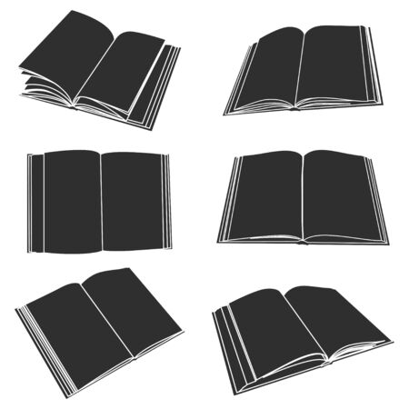 Open book black silhouette. Vector flat icons set isolated on white background.